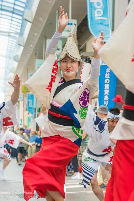 高円寺パル商店街、江戸っ子連の流し踊り、女踊りの踊り手の写真