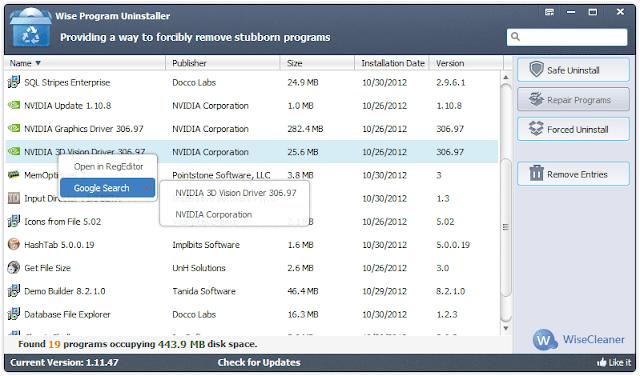 تحميل أفضل برنامج لحذف الملفات المستعصية من جذورها  مجانا Wise Program Uninstaller