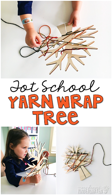 This yarn wrap tree is great for fine motor practice with a fall theme. Great for tot school, preschool, or even kindergarten!