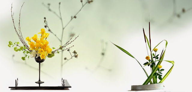 Dos arreglos de ikebana de estilos diferentes