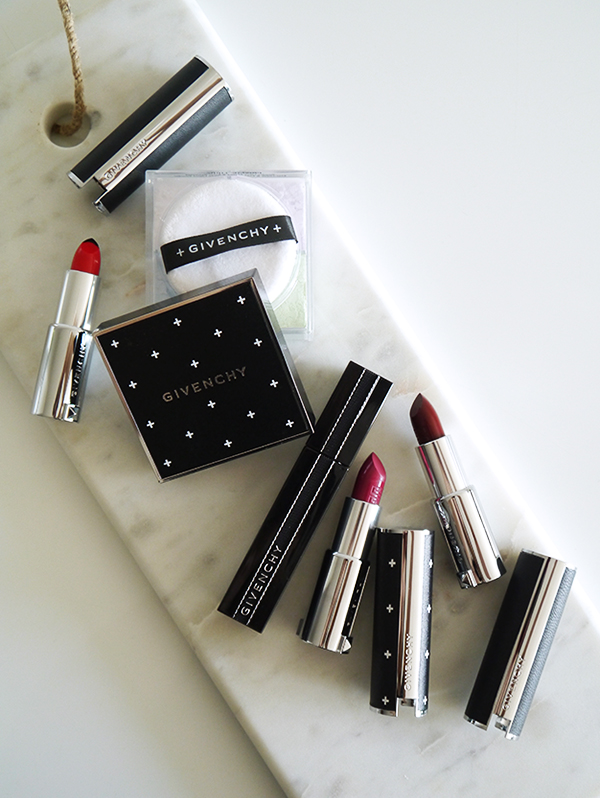 Recent 2017 Givenchy beauty launches including: Prisme Libre loose powder Couture Edition, Le Rouge Couture Edition, Le Rouge Sculpt in 01 Sculpt'n Roge, Le Rouge in Pourpre Edgy, Noir Interdit Mascara