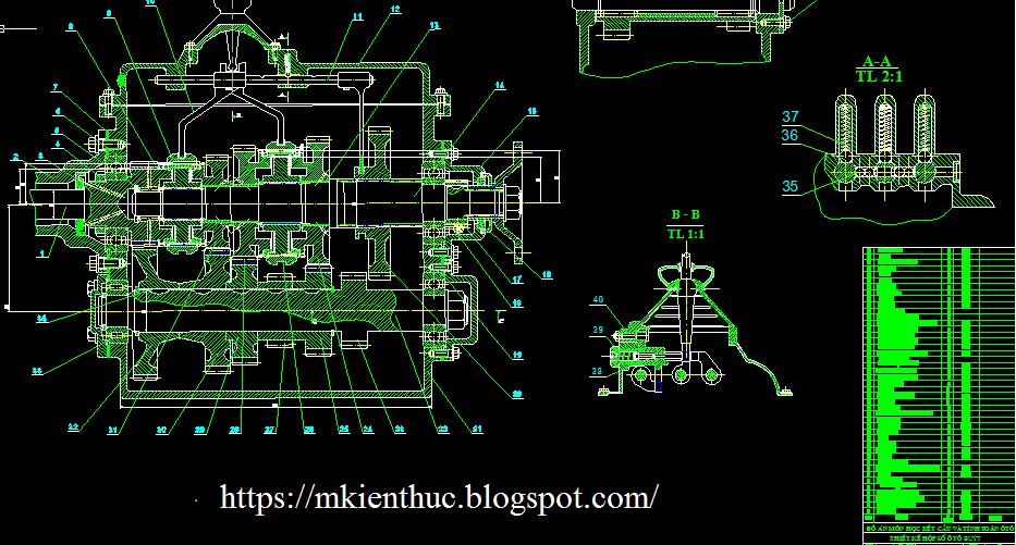 bản vẽ dồ án tính toán thiết kế hộp số xe buýt