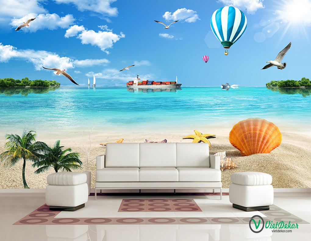 Tranh dán tường 3d phong cảnh biển thuận buồm xuôi gió