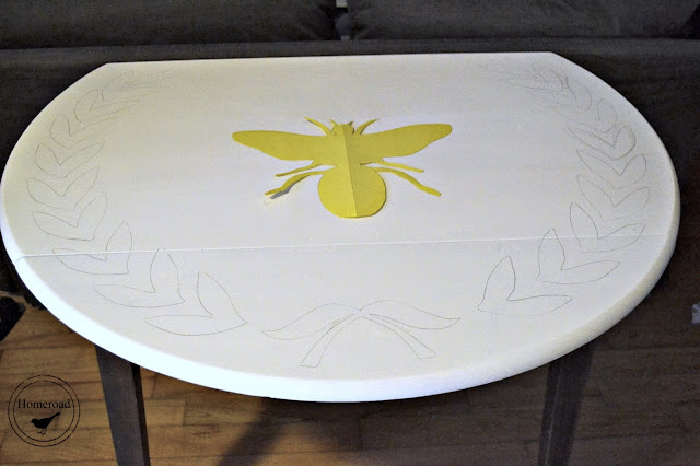 bee traced on table