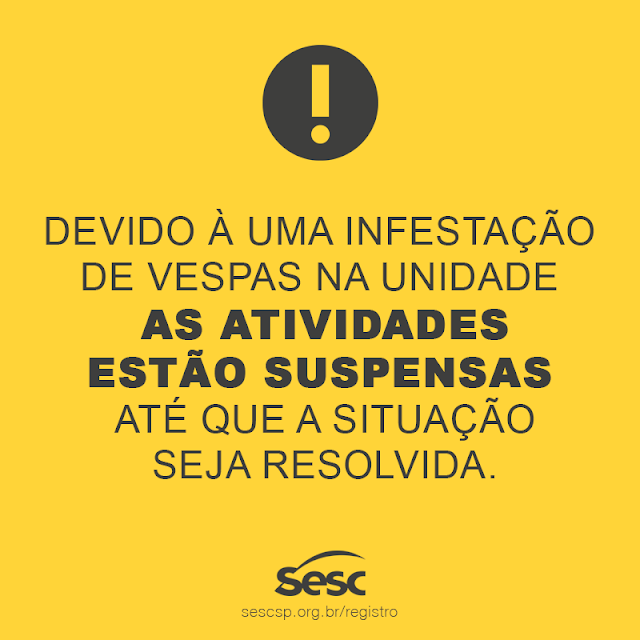 Infestação de Vespas (29/01) cancela atividades no Sesc de Registro-SP