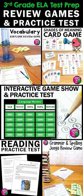 ELA Test Prep Bundle 3rd Grade: 4 Games & 1 Reading Practice Test