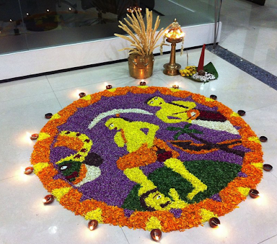 Flower Carpet Depicting the Story of Onam