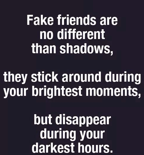 fake friends are shadows