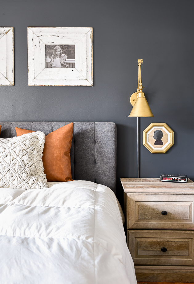 High contrast bedroom makeover, dark and moody, bedroom, sherwin-williams iron ore