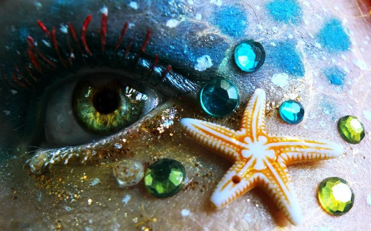 Highly artistic make-up, nature photography