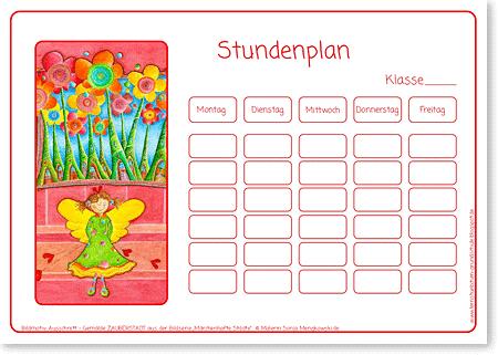 Stundenplan - SCHUTZENGEL - Motiv: Zauberstadt - Format DIN A4 - Grundschule