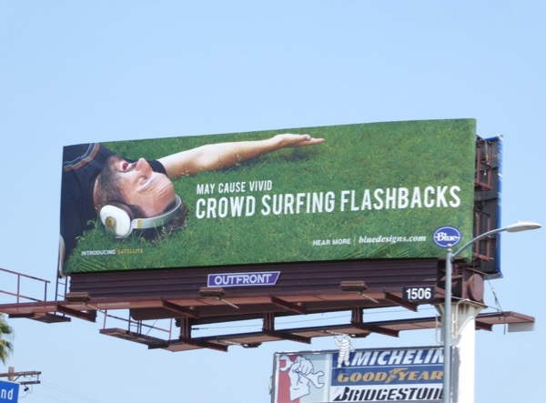 crowd surfing Blue Designs headphones billboard
