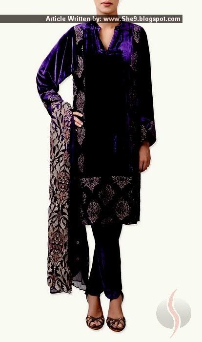 Bareeze Velvet Dresses Embroidered Royal Velvet Suits In