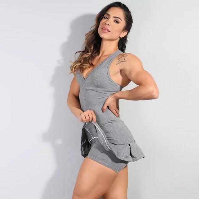VESTIDO FITNESS MESCLA COM SAINHA DE BABADO