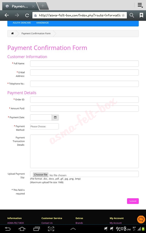 Website Upgrade : Payment Confirmation Form