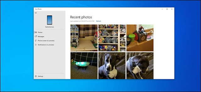يعرض تطبيق Phone PC مجموعة متنوعة من الصور.
