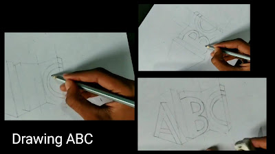 How to draw ABC, step by step tutorial for to draw 3d words,3d words drawing, easy to draw, drawing for kids, easy drawing, 3d drawings