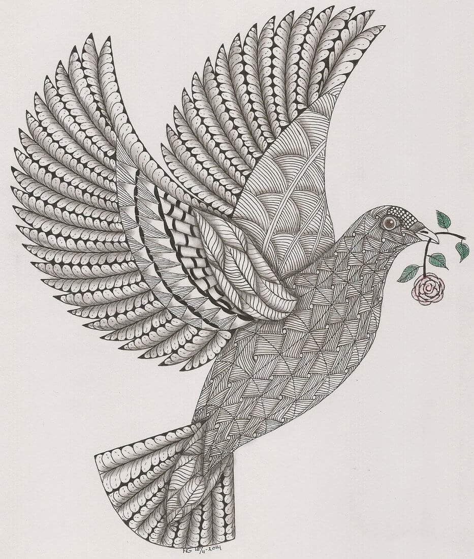 05-Dove-Adri-van-Garderen-Animals-Given-the-Zentangle-Treatment-www-designstack-co