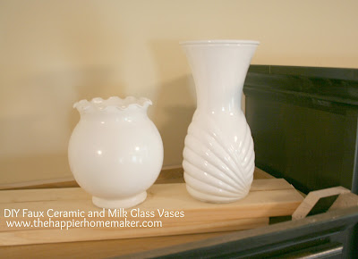Two vases that were painted white