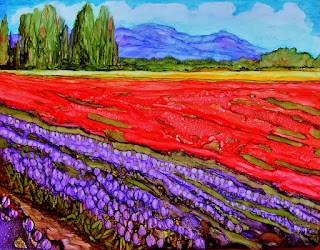 alcohol ink on YUPO painting of Skagit Valley tulips, received Honorable Mention award in South Sound art competition, 2017, copyright Anne Doane 2017