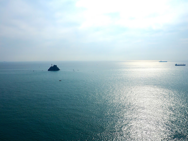 Ocean view of Teapot Island from the Observatory in Taejongdae Park, Busan, South Korea
