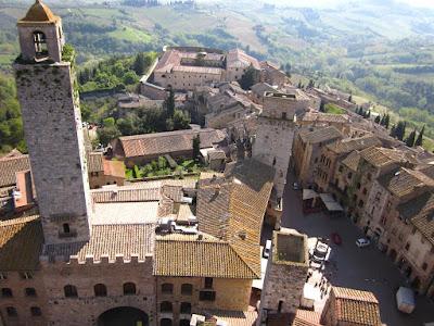 Piazza della Cisterna from Torre Grossa in San Gimignano