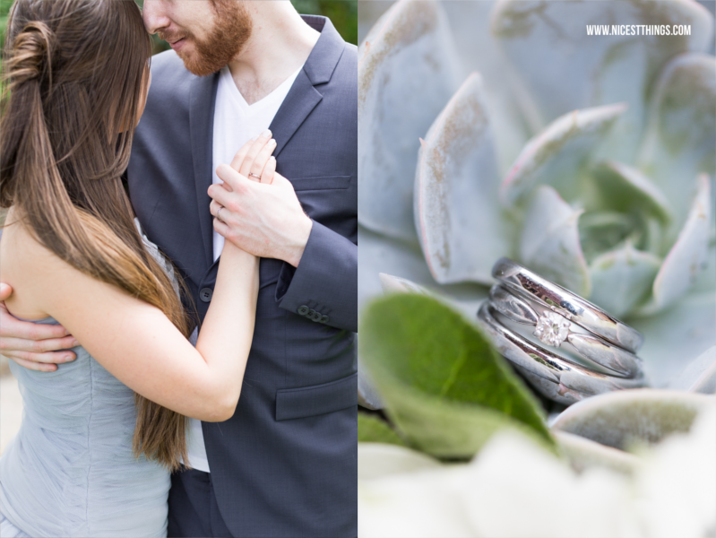 Hochzeitsfrisur offen Halfback, silberne Eheringe