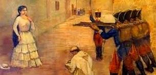Dibujo de María Parado de Bellido antes de morir a colores