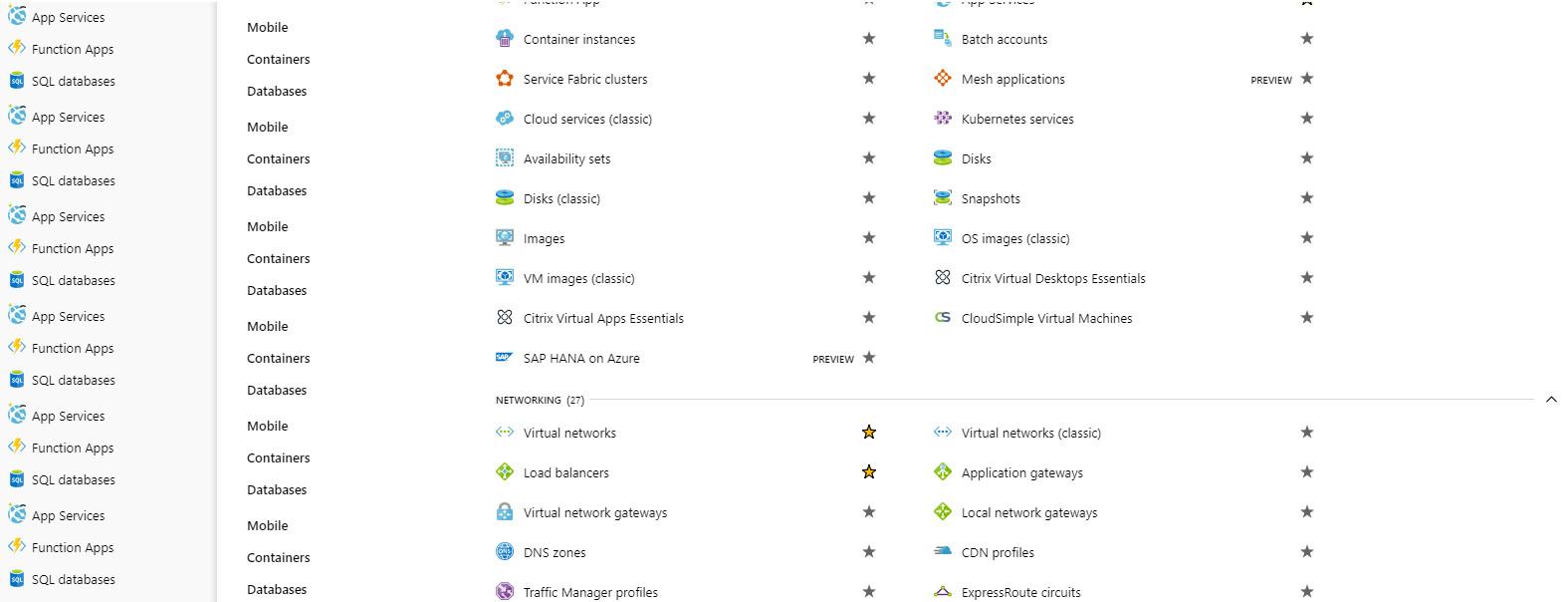 Danh sách các dịch vụ của Azure