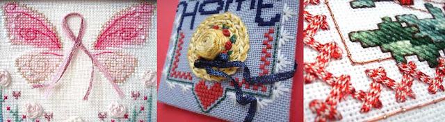 Add a stitch of flat Kreinik ribbon in cross stitch for dimension
