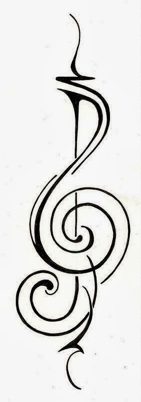 Music Sol key modern tattoo stencil