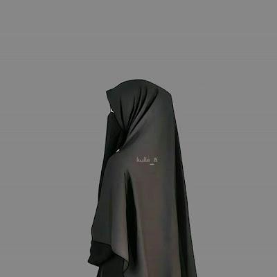 Kartun Muslimah Bercadar Warna Hitam