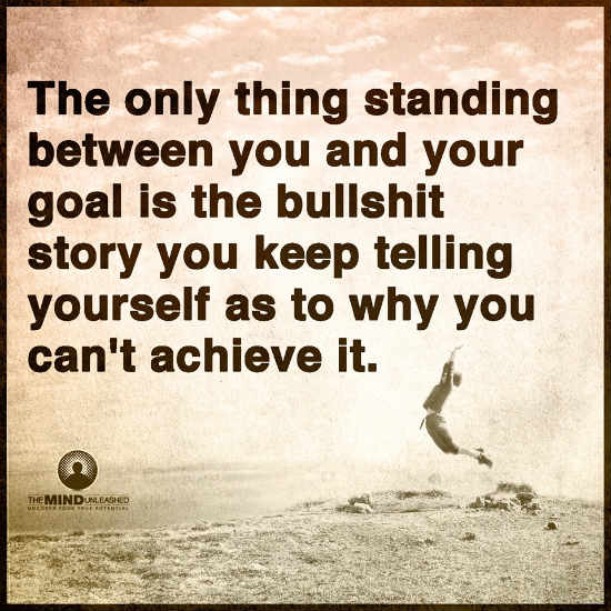 Goal Quotes | The Only Thing Standing Between You And Your Goal Is The Story You