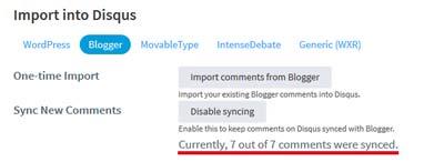 Dwa przyciski zawierające opcję importu komentarzy z blogspota oraz synchronizacji komentarzy