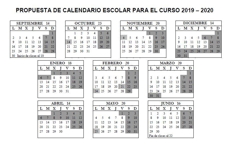 Calendario Escolar Galicia 2020 Y 2019.Propuesta De Calendario Escolar Curso 2019 2020