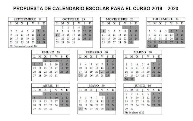 Propuesta Calendario Escolar Curso 2019-2020, Junta de Personal de Ceuta, Blog de Enseñanza UGT Ceuta