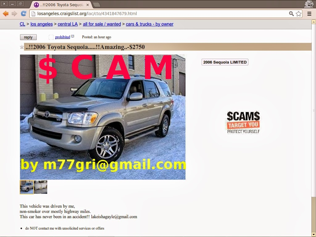 CRAIGSLIST SCAM ADS DETECTED ON 02/20/2014 | Vehicle Scams