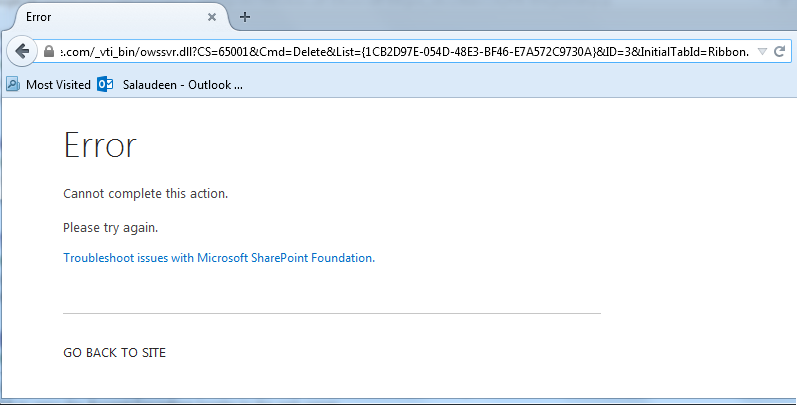 Cannot complete this action. Please try again Error in SharePoint