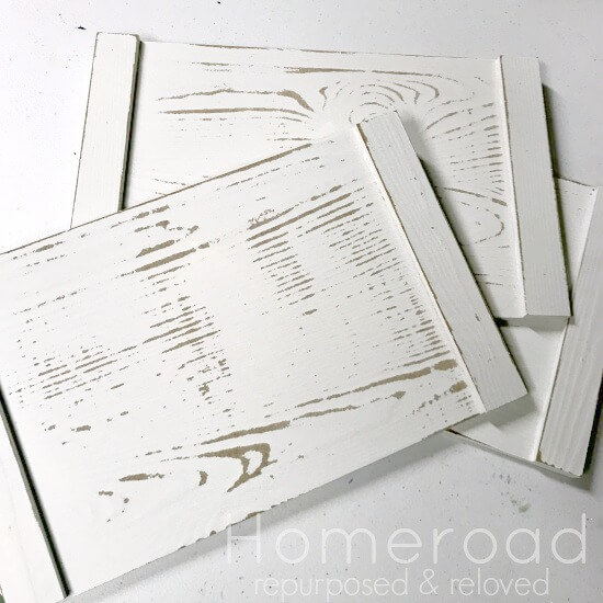 White distressed set of boards