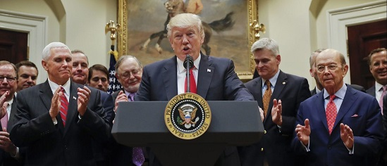 President Trump speaks in the Roosevelt Room of the White House in Washington on April 28, 2017, before signing an Executive Order directing the Interior Department to begin review of restrictive drilling policies for the outer-continental shelf. (Pablo Martinez Monsivais / Associated Press)