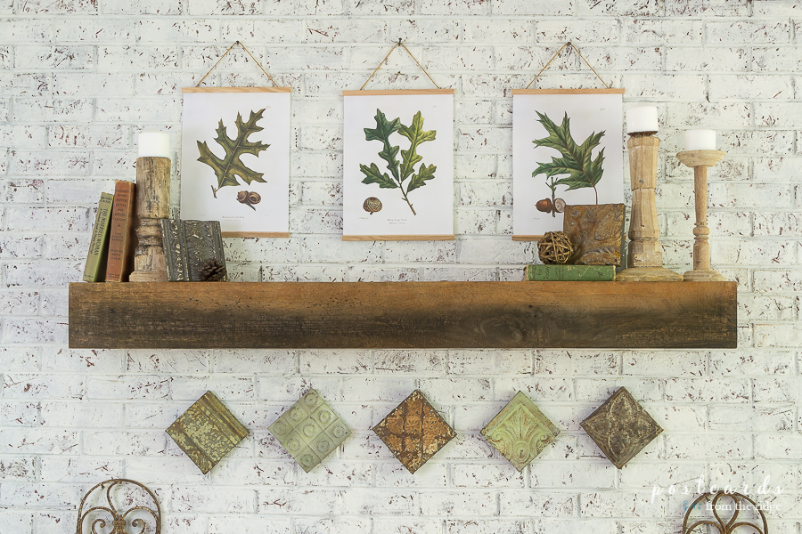 fall mantel with oak leaf prints