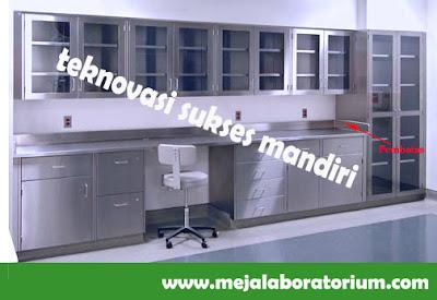 Meja Laboratorium wall bench bahan Stainless Steel