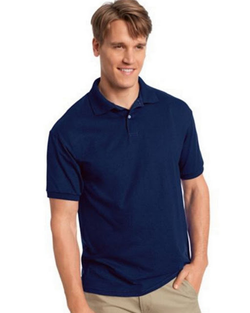 Hanes 054X Mens Comfortblend Jersey Polo - Navy– L