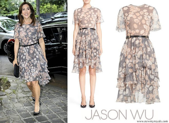 Crown Princess Mary wore JASON WU Floral Glen Plaid Silk Chiffon Tiered Dress
