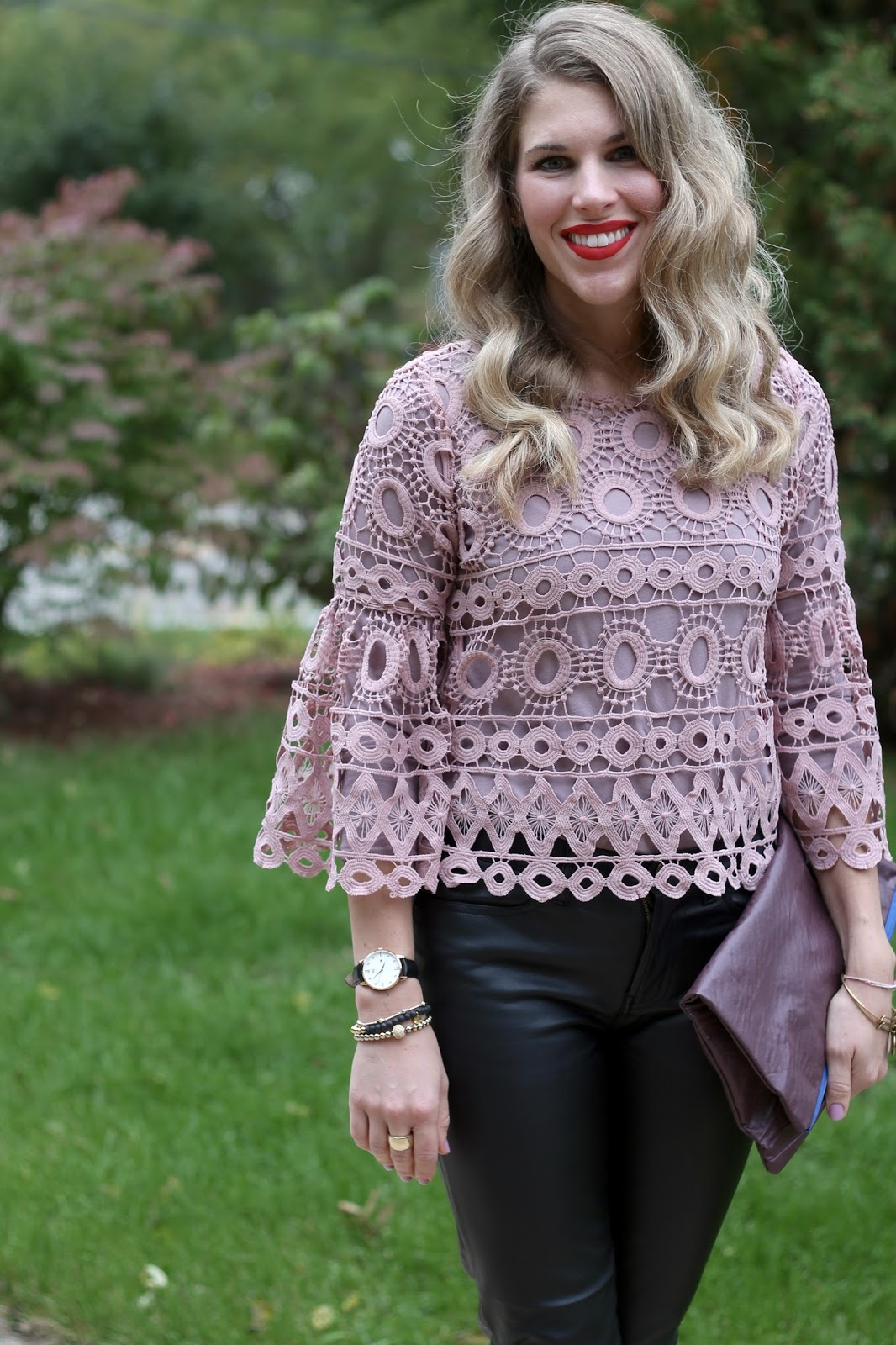 blush lace top, black leather pants, burgundy clutch, fall date night look, fall lace outfit