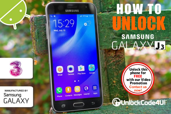 Factory Unlock Code Samsung Galaxy J3 2017 from Three Network