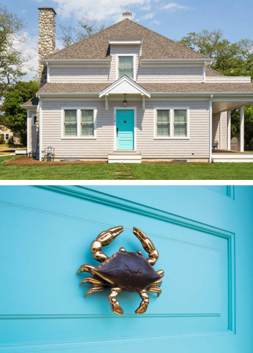 Cape Cod Home Turquoise Blue Door Crab Door Knocker