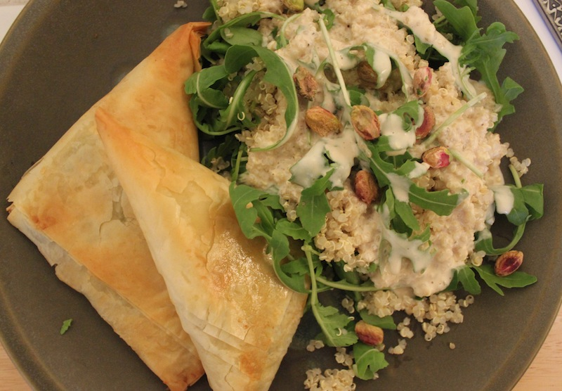 Spinach Pie with quinoa salad