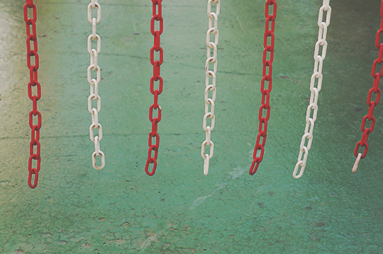green, red, white, chains, urban photography, contemporary photography, urban photo, Sam Freek,