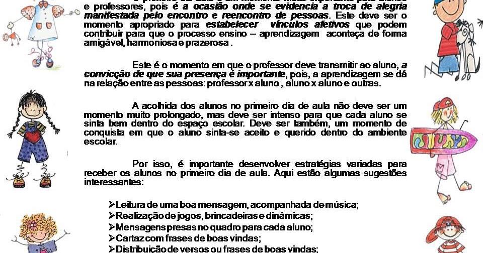 Texto Para O Primeiro Dia De Aula: PRÁTICA E EXPERIÊNCIAS NA EDUCAÇÃO INFANTIL...: PRIMEIRO